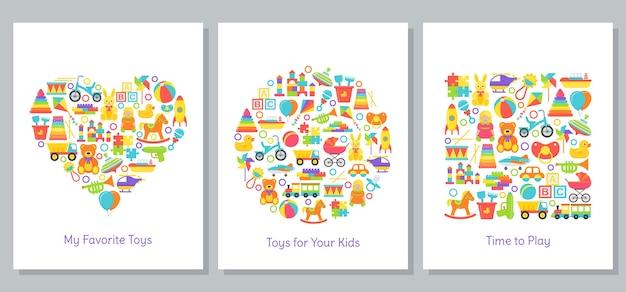 Cartões de brinquedos de bebê estilizados em formas de coração, círculo e quadrado. impressão de brinquedo infantil. ilustração dos desenhos animados. design plano.