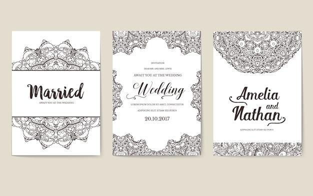 Cartões de brochura de arte decorativa abstrata do laço. ilustração de panfleto de invintation tradicional vintage.