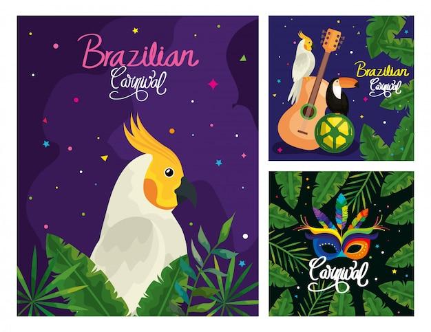 Cartões de carnaval do brasil