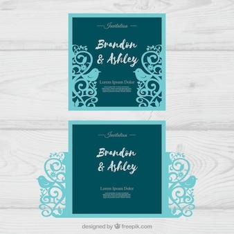 Cartões de casamento com corte a laser