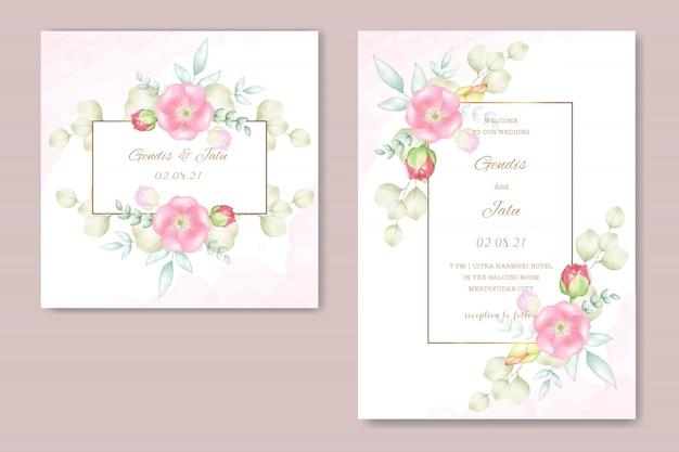 Cartões de casamento com lindas flores em aquarela