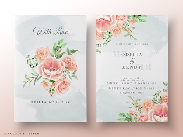 Cartões de casamento em aquarela floral romântico