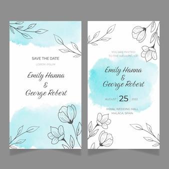 Cartões de casamento florais mínimos desenhados à mão