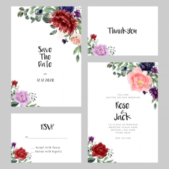 Cartões de casamento modernos da aguarela