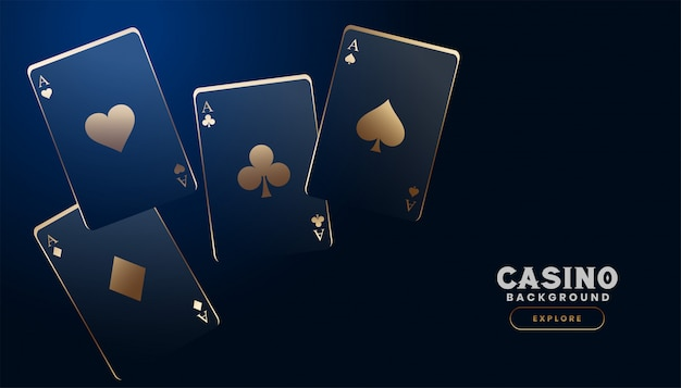 Cartões de cassino elegante em fundo azul escuro