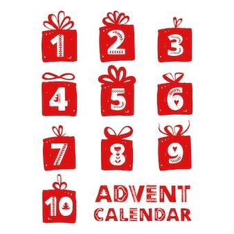 Cartões de celebração do feriado de natal do calendário do advento para números de contagem regressiva em presentes