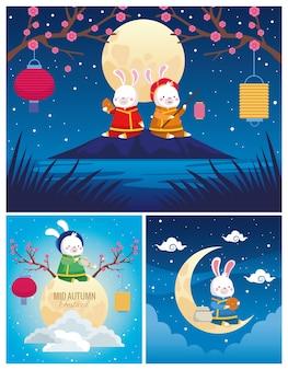 Cartões de celebração do meio do outono com cenas de coelhos e luas
