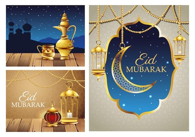 Cartões de celebração ramadan kareem definir cenas