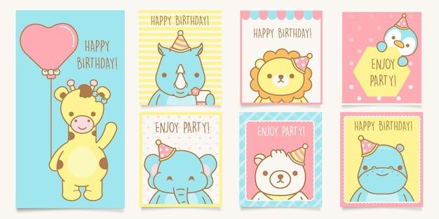 Cartões de chuveiro de bebê, cartões de modelo de felicitações de aniversário com animais. .