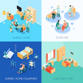 Cartões de conceito de cuidados de enfermagem isométricos