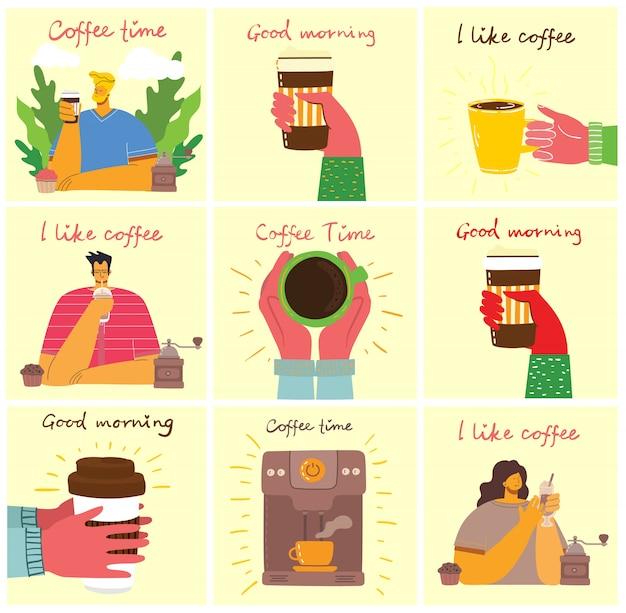 Cartões de conceito de hora do café, pausa e relaxamento. ilustração em estilo design moderno