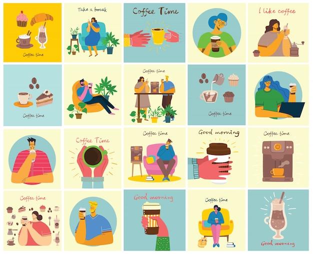 Cartões de conceito de hora do café, pausa e relaxamento. ilustração em estilo design plano