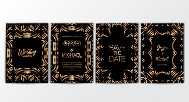 Cartões de convite com conceito luxuoso