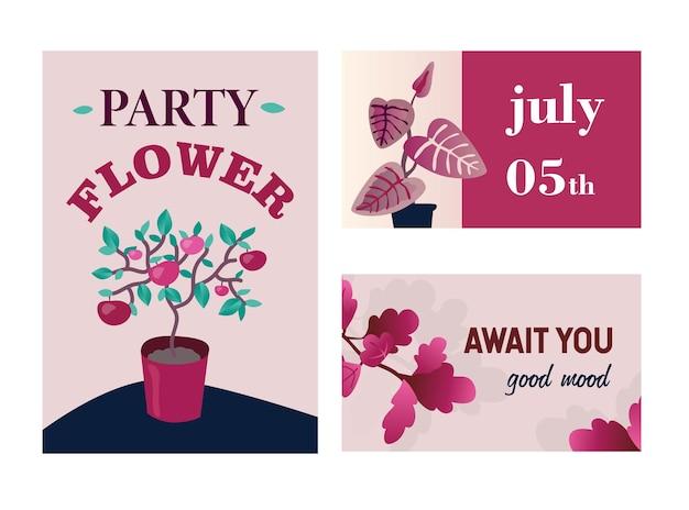 Cartões de convite com plantas caseiras