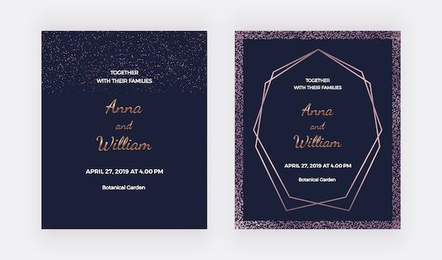 Cartões de convite de casamento azul escuro com bordas de confetes ouro rosa e quadro de linhas poligonais.