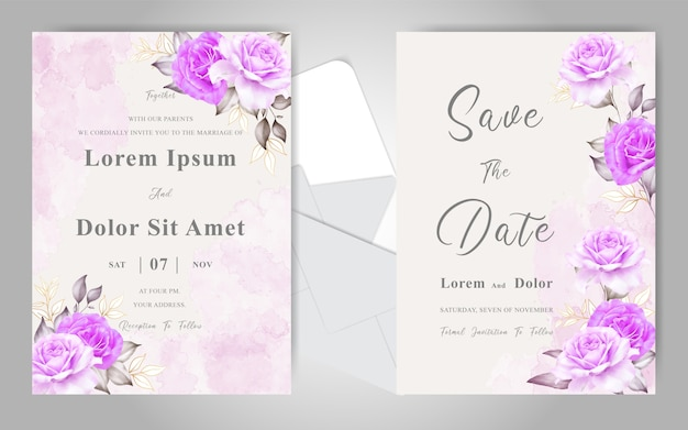 Cartões de convite de casamento bonito com aquarela elegante floral