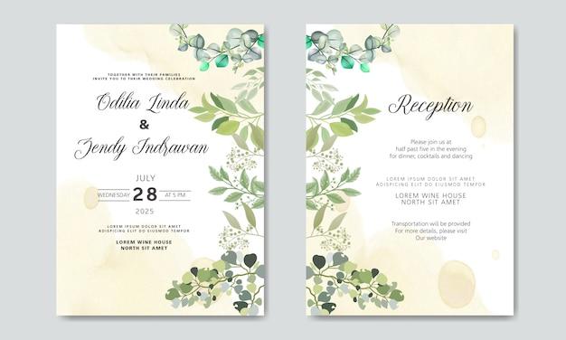 Cartões de convite de casamento bonito e elegante com temas florais