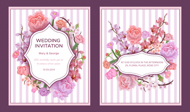 Cartões de convite de casamento coloridos
