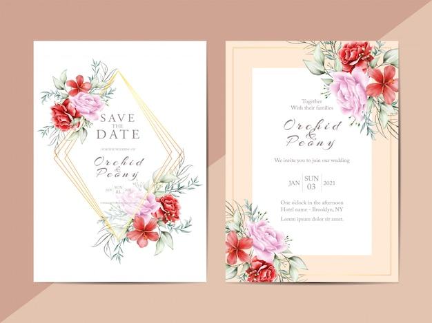 Cartões de convite de casamento com arranjos de flores românticas