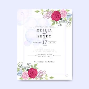Cartões de convite de casamento com belas flores