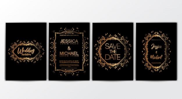 Cartões de convite de casamento com conjunto de conceito de luxo