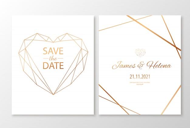 Cartões de convite de casamento com coração poligonal geométrica ouro