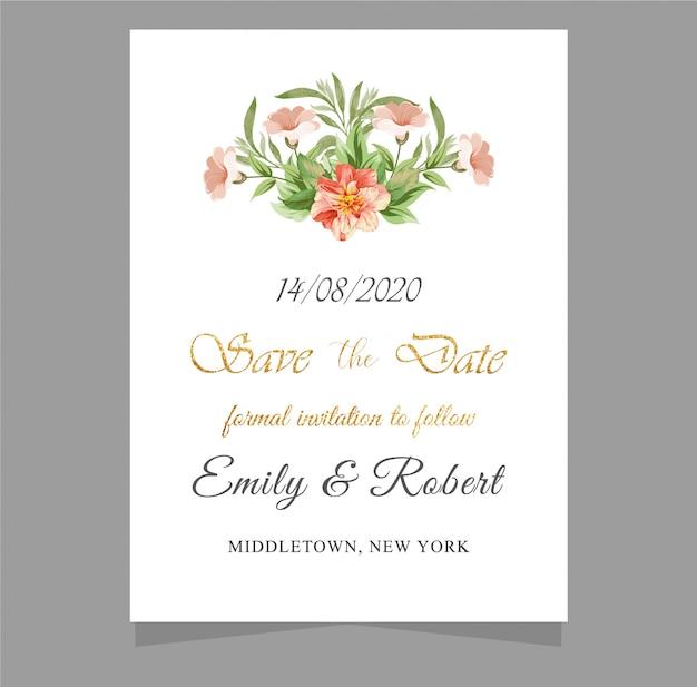 Cartões de convite de casamento com design de ouro