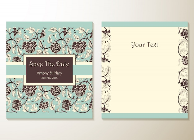 Cartões de convite de casamento com elementos florais