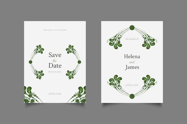 Cartões de convite de casamento com folhas verdes