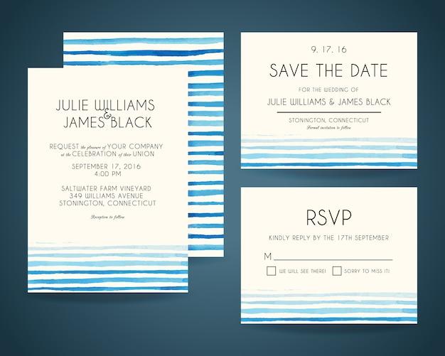Cartões de convite de casamento com fundo aquarela