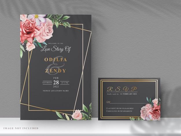Cartões de convite de casamento com lindas flores vermelhas desenhadas à mão
