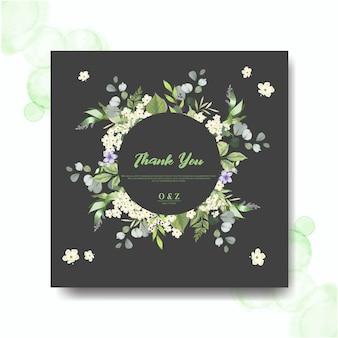 Cartões de convite de casamento com lindas folhas e flor