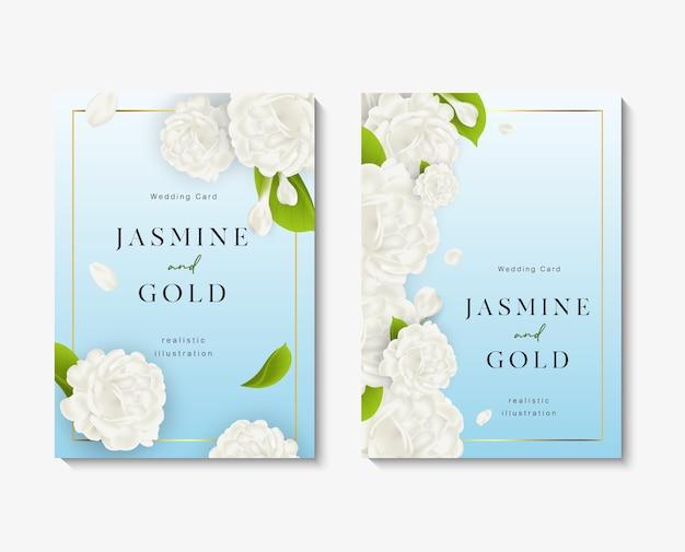 Cartões de convite de casamento com lindo modelo de flores de jasmim branco. Vetor Premium