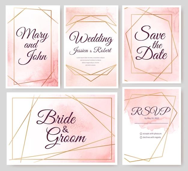 Cartões de convite de casamento com molduras poligonais douradas e conjunto de vetores de fundo aquarela