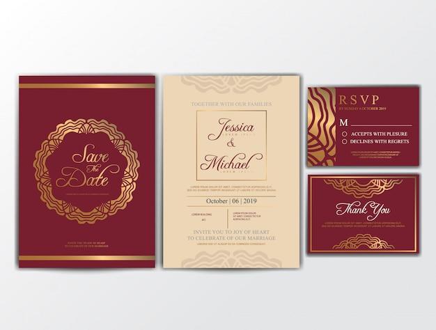 Cartões de convite de casamento com ornamento