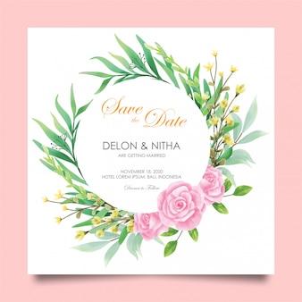 Cartões de convite de casamento com rosas e estilo aquarela