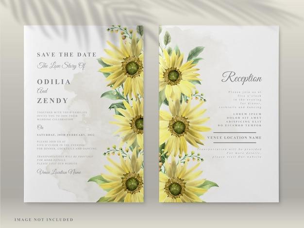 Cartões de convite de casamento com um lindo girassol desenhado à mão