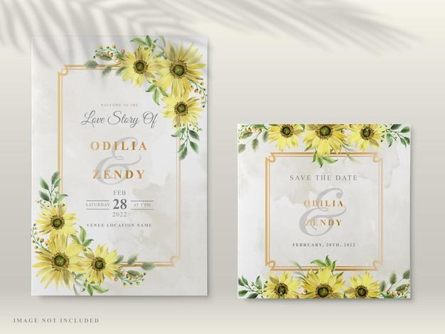 Cartões de convite de casamento com um lindo girassol desenhado à mão Vetor Premium
