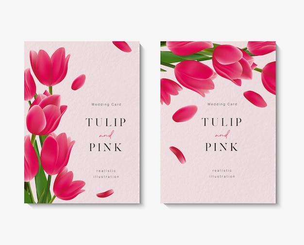 Cartões de convite de casamento com um lindo modelo de flores de tulipa rosa. Vetor Premium