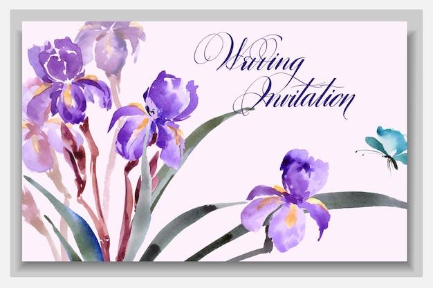 Cartões de convite de casamento com uma aquarela íris desabrochando com ilustração vetorial de borboleta