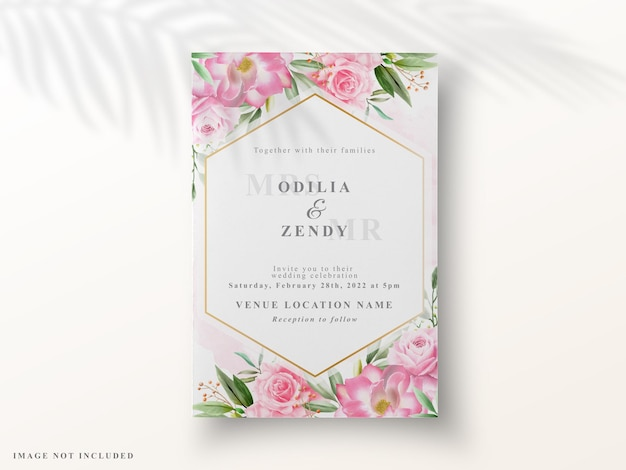 Cartões de convite de casamento de flores românticas