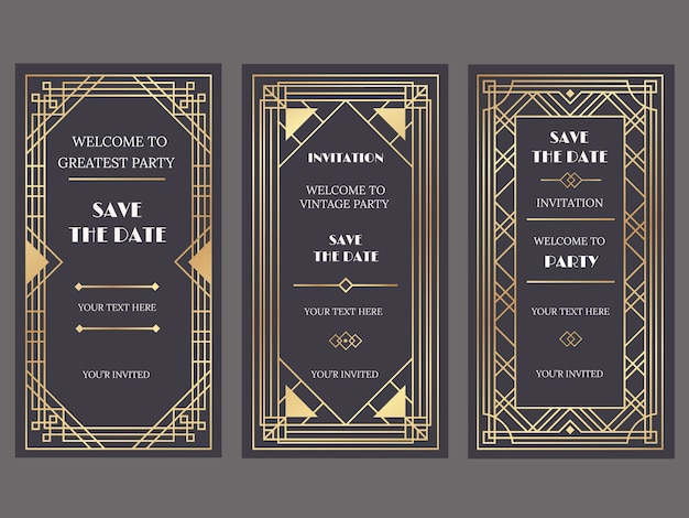 Cartões de convite de casamento de luxo com estilo art deco ou gatsby, ornamentos de ouro