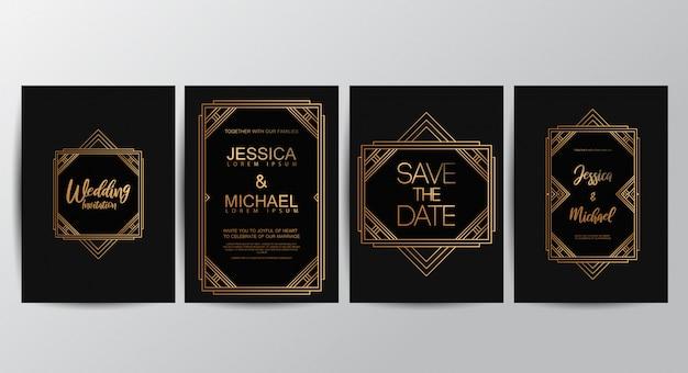 Cartões de convite de casamento de luxo premium