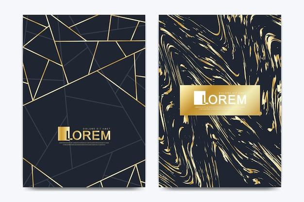 Cartões de convite de casamento de modelo vetorial moderno com fundo de textura de mármore e linhas geométricas douradas no tamanho a4