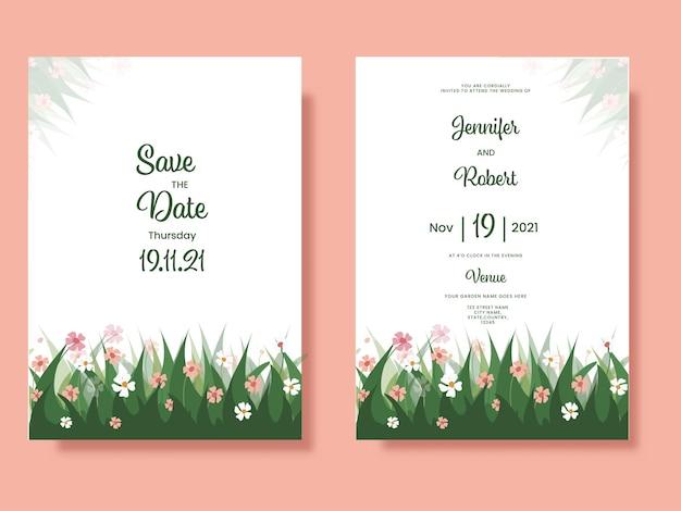 Cartões de convite de casamento decorados com florais na cor branca.