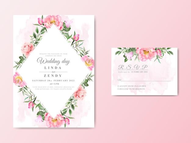 Cartões de convite de casamento desenhados à mão floral