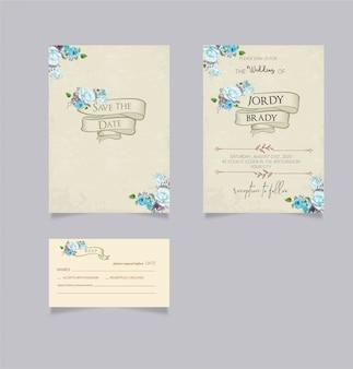 Cartões de convite de casamento do vintage com salvar a data e cartão rsvp