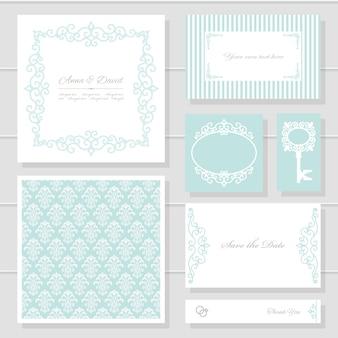 Cartões de convite de casamento e conjunto de modelos.