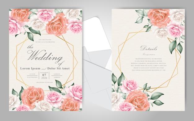 Cartões de convite de casamento editável com moldura floral e geométrica