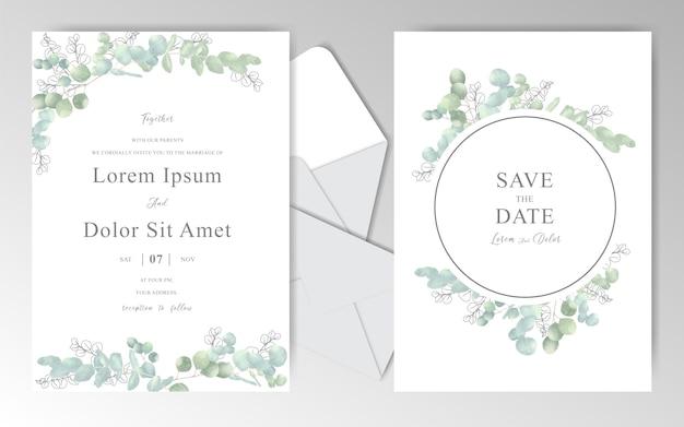 Cartões de convite de casamento elegante em aquarela com eucalipto bonito